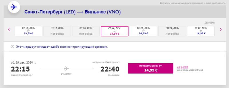 Wizzair открыл продажу билетов, на осение и зимние маршруты из Санкт-Петербурга в Европу от 14,99€